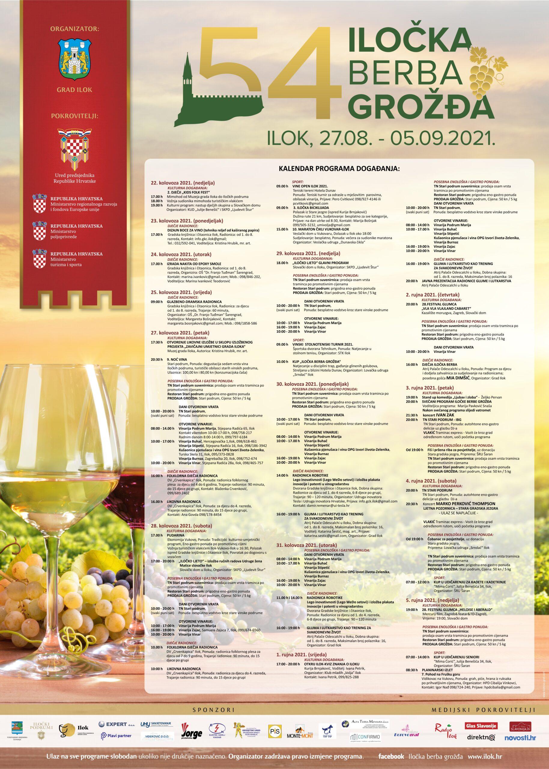 54, Iločka berba grožđa Ilok, 27.08.-05.09.2021.